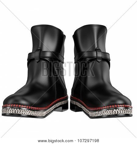 Leather retro boots front view with a silver chain