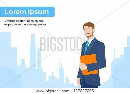 Businessman Executive Business Man over City Skyscraper
