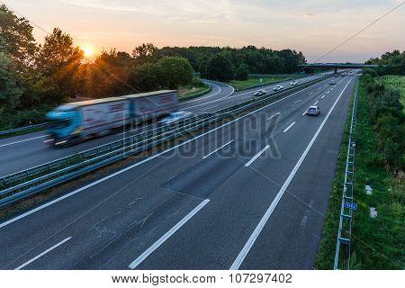 Heidelberg, Germany - October 17, 2015 -sunset Long-exposure Over A German Highway
