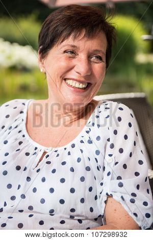Portrait Attractive Women Smiling In The Garden
