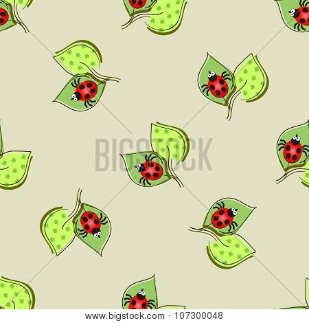 Seamless pattern with ladybugs and leaves