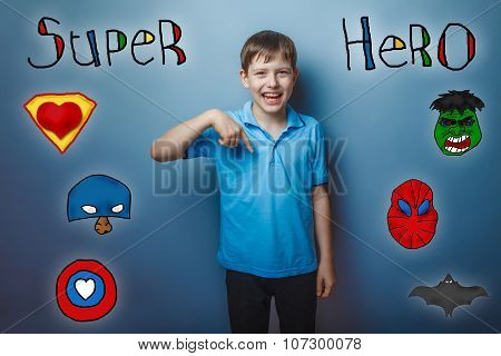 Boy points to the bottom and laughs superhero super power at the