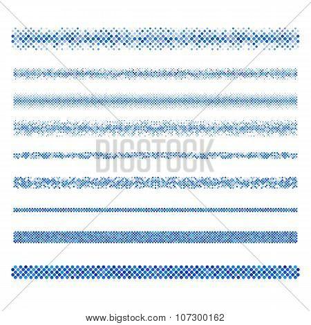 Web design elements - blue page divider line set