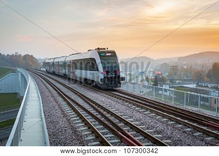 GDANSK, POLAND - OCTOBER 31, 2015: Platform of Pomeranian Metropolitan Railway in Gdansk, Poland. PKM is a new railway built in 2015 connecting  Lech Wa??sa Airport with Gdansk Wrzeszcz and Kartuzy.
