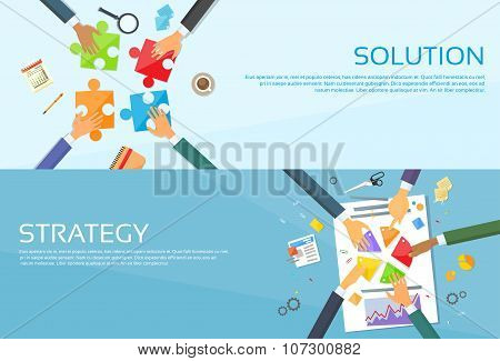 Business People Hands Making Puzzle Desk, Team Work