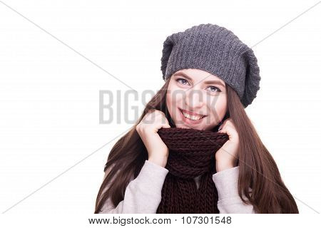 Happy Girl In Winter Scarf Smiling At Camera