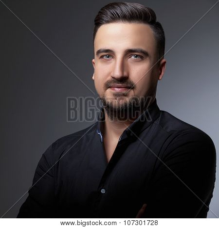 Headshot Of Handsome Men On Greu Background