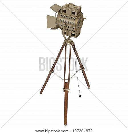 Studio floodlight with wooden tripod