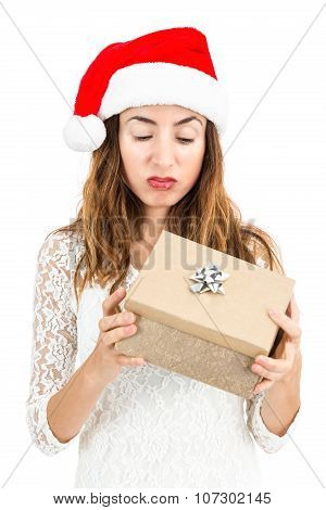 Unhappy Woman With Her Christmas Gift