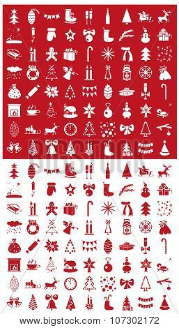 Christmas Icons On A Red And White