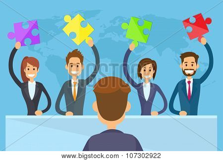 Business People Hold Puzzle Piece Concept of Solution Team