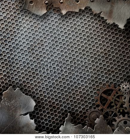 grunge metal background template with gears and cogs