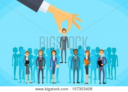 Recruitment Hand Picking Business Person Candidate