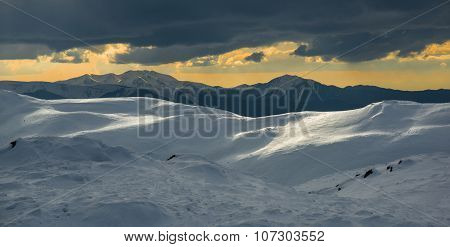 Winter Landscape With Dark Cloud