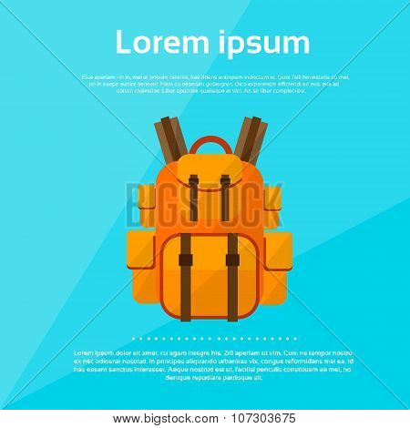 Backpack Tourist Bag Rucksack Flat Vector