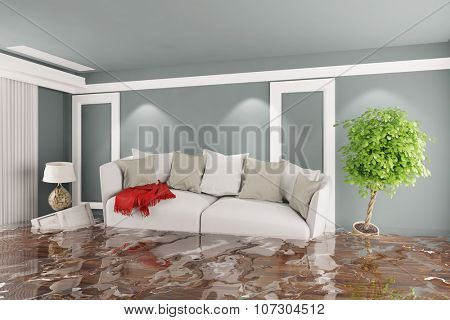 Living room with sofa and other furniture after water damage (3D Rendering)