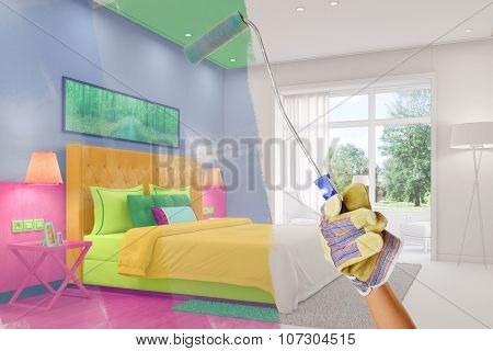 Hand of painter during renovation coloring a living room (3D Rendering)