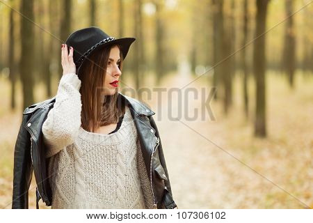 Girl Walking In The Park