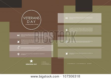 Set of brochure, poster design templates in veterans day style