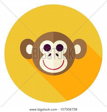Vector Flat Design Monkey Circle Icon
