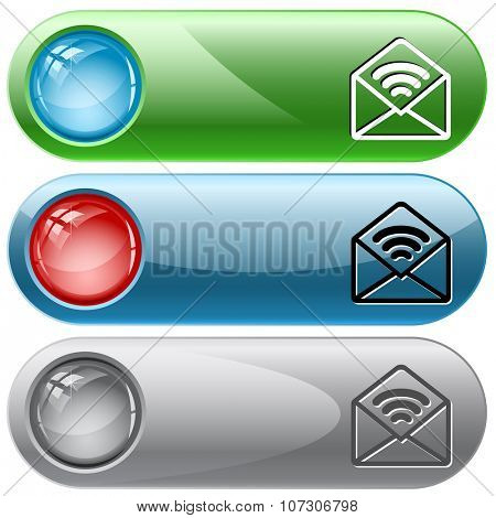 open mail with sound. Raster internet buttons.