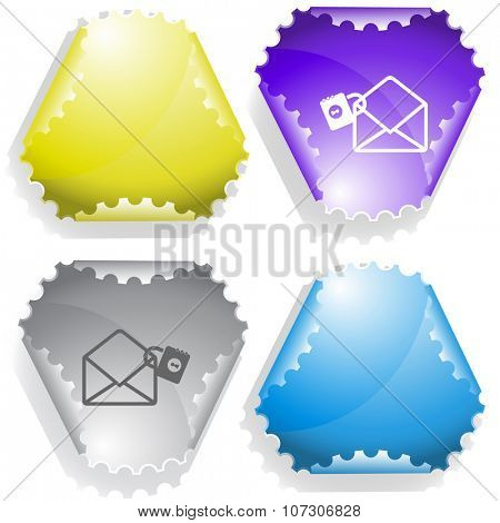 open mail with lock. Raster sticker.