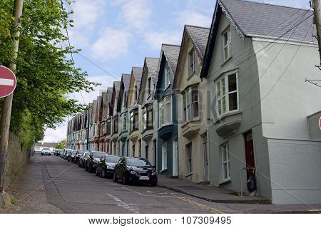 Street View Of Houses On A Steep Hil