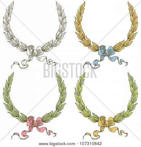 Vector Hand Drawn Laurel Wreath With Bow