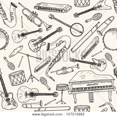 Hand drawn musical instruments.