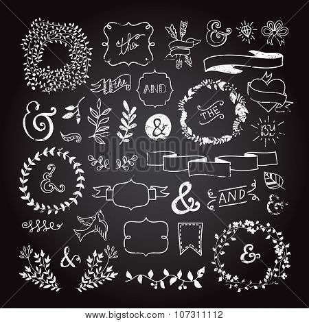 Vintage hipster design elements in hand drawn style: wreaths, arrows, ampersands, leaves, ribbons, f
