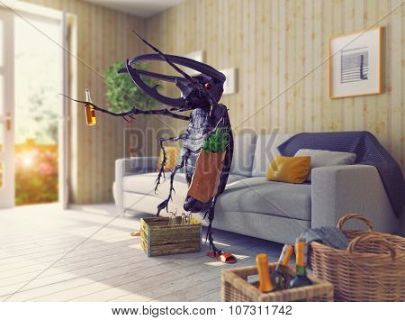 the beetle in the living room. 3d concept. Depth of Field effect style