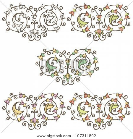Vector vintage decorative hand drawn floral vignette