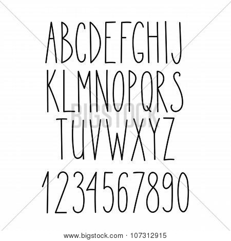 Doodle Alphabet, Vector Simple Hand Drawn Letters