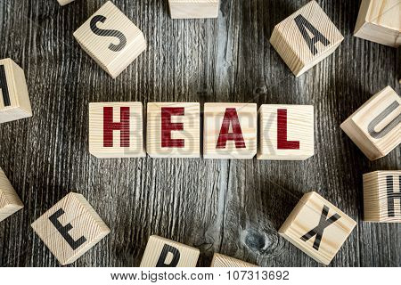 Wooden Blocks with the text: Heal