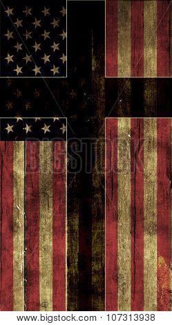 Cross and American Flag