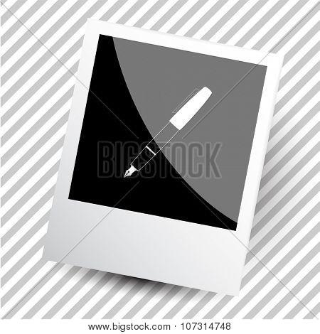 ink pen. Photoframe. Vector icon.