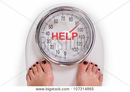 Low Section Of Woman On Weight Scale With Help Text