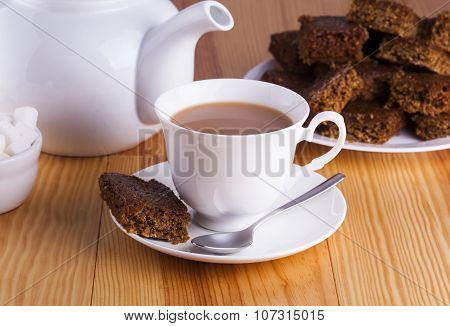 Cup Of English Tea With Cake For Tea Break In Afternoon