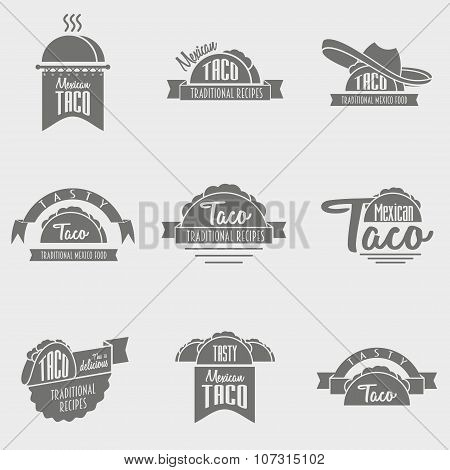 Vector Set Of Taco Logo Concepts. Template Can Be Used To Design Menu, Business Cards Or Posters.