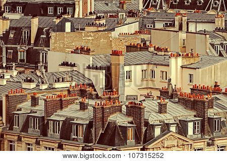 Vintage Aerial View With Roofs In Paris, France