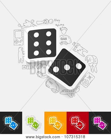 dice paper sticker with hand drawn elements