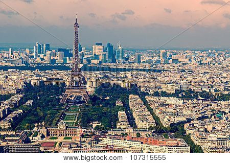 Vintage Aerial View With Eiffel Tower And La Defense District In Paris