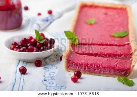 Cranberry, bilberry custard tart, pie,cake with fresh berries