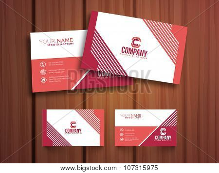 Professional Horizontal Business Card, Visiting Card or Name Card set with front and back presentation on wooden background.