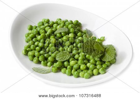 Dish of sugar snap peas with mint, isolated on white.