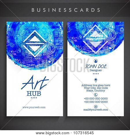 Creative Vertical Business Card, Visiting Card or Name Card set with abstract design.