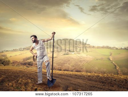 Worker in the countryside