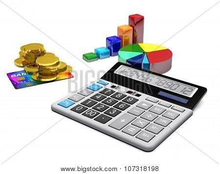 Calculator, Money, Credit Cards And Diagrams Are On A White Background.
