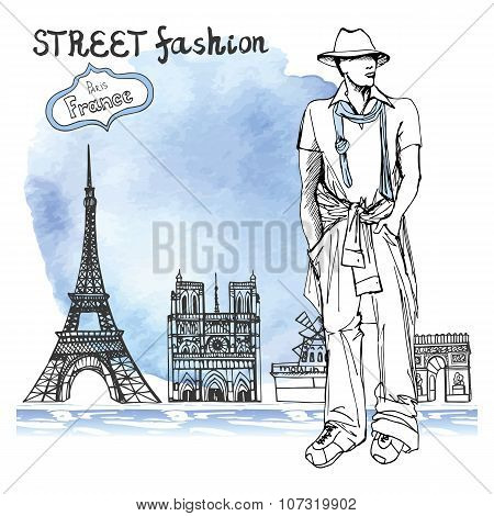 Trendy  dude on watercolor background.Paris street fashion