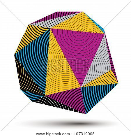 Vector Complicated 3D Figure, Modern Digital Technology Style Form. Abstract Stripy Bright